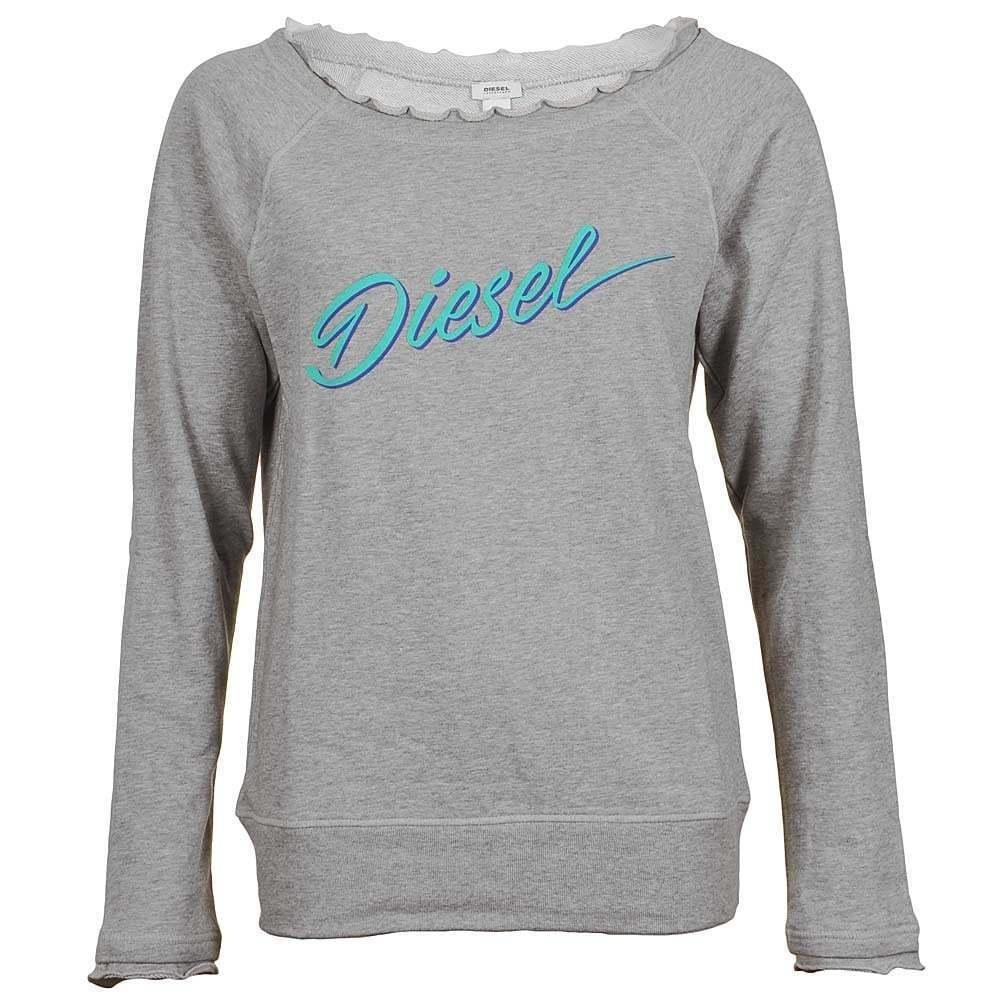 DIESEL Women's UFLT-MILKY Lounge Leisure Jersey Sweatshirt With Raw Edge, Grey