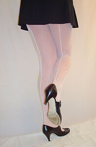 10f2832348e040 Details zu Mary Quant Muster Tüll Strumpfhose WEISS S/M - M/L