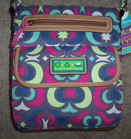Lily Bloom Padded Computer Tablet Tote Purse Gray/pink/blue/lime Recycled