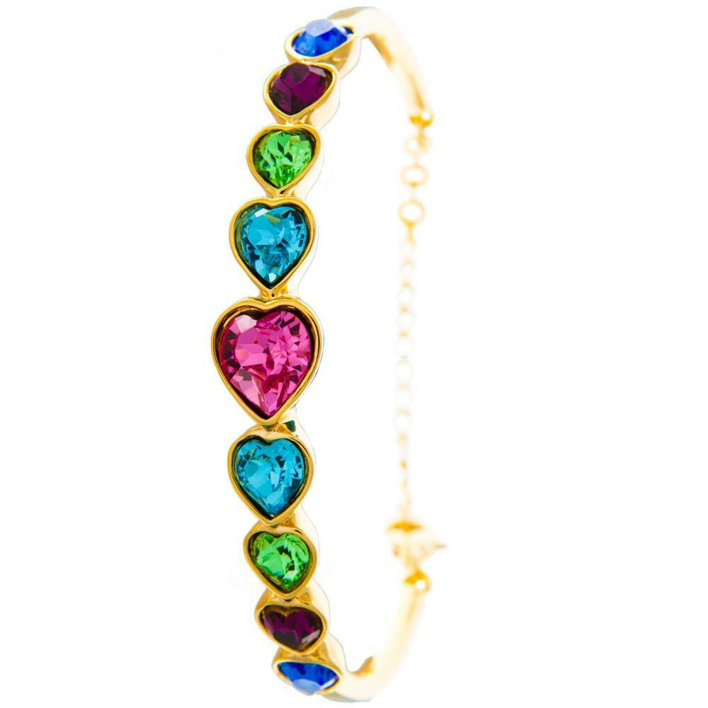 Champagne gold Plated Bracelet w Heart Chain & Multi colord Crystals by Matashi