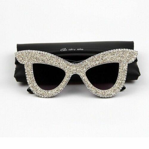 Cat Eye Frame Rhinestone Women Sunglasses Oversize Vintage UV400 Gradient Lenses