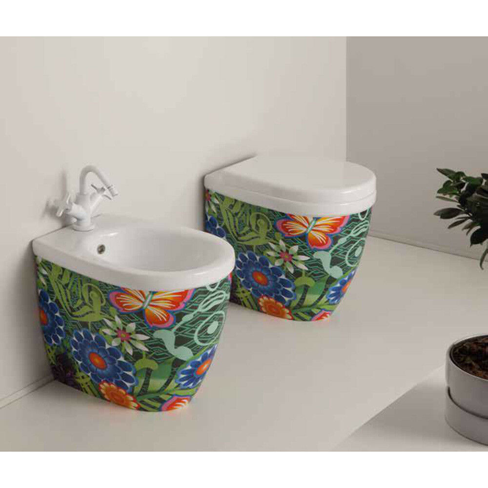 Vaso Wc + Bidet Bagno da terra Moderni Young in ceramica con 3 differenti decori