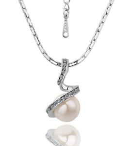 18K-White-Gold-GP-Crystal-Pearl-Dangle-Drop-Pendant-Necklace-N46