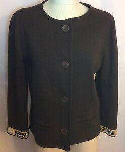 NWT-LEONARD-PARIS-Brown-Italian-Wool-Knit-Jacket-Sweater-Size-48-EU-HTF
