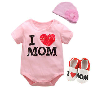 Baby infant girls bodysuit+hat+bib set outfits photo props baby shower gift cat