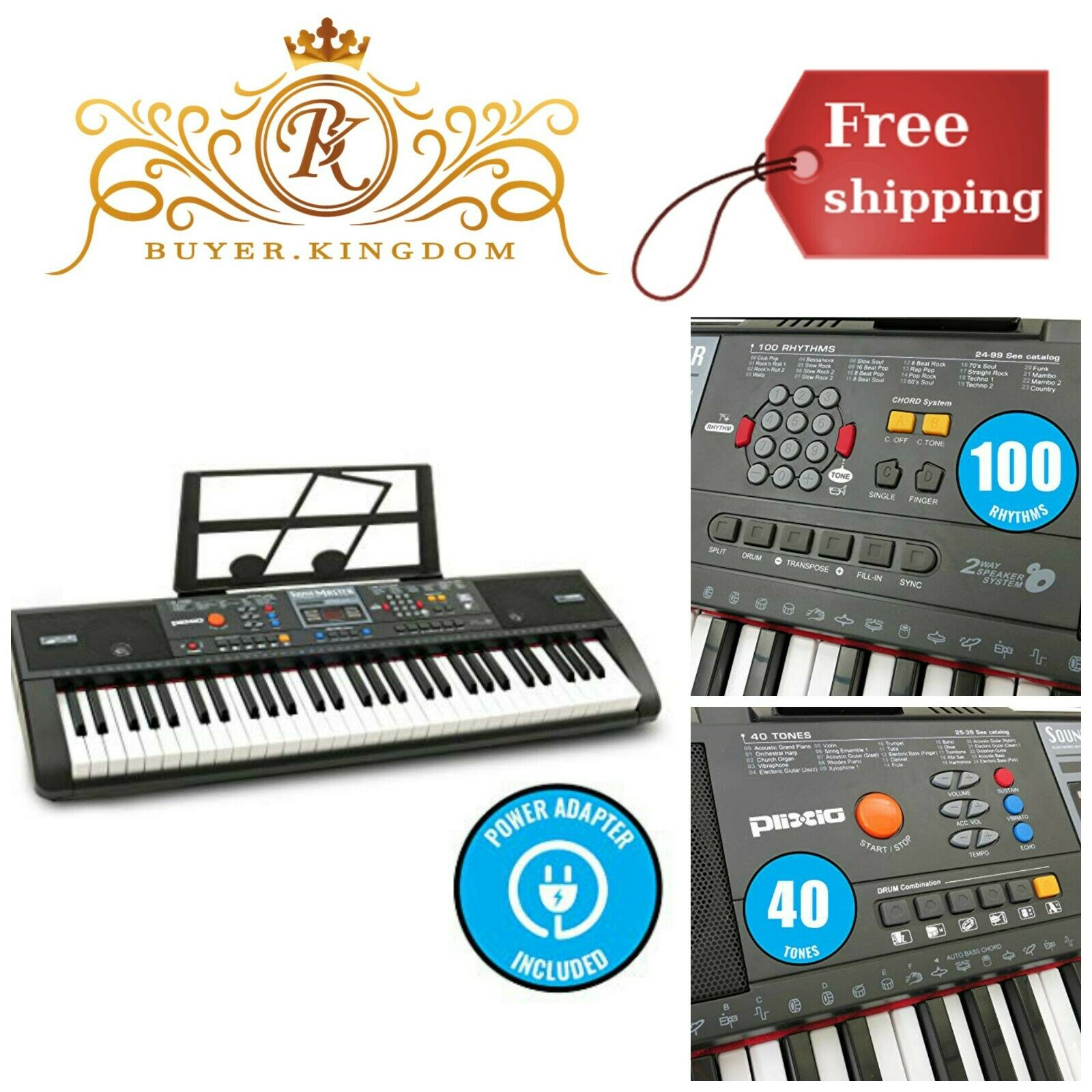 61 Key Piano Keyboard Digital Electric Portable Electronic Beginners Music