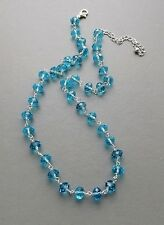 Turquoise blue crystal glass bead bridal necklace . silver tone handmade jewelry