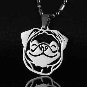 US-Shipping-Stainless-Steel-Chinese-Pug-HEAD-Dutch-Bulldog-Pet-Dog-Charm-Pendant