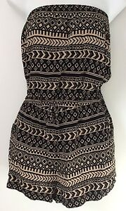a64a0cc287d Image is loading FOREVER-21-Romper-M-Black-Beige-Strapless-Tribal-