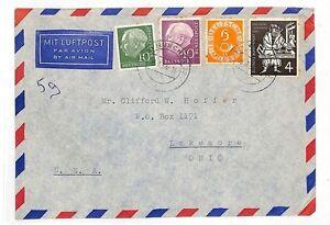 Importé De L'éTranger At54 1954 Allemagne * Munchen * Ohio Usa Cover Air Mail {samwells Couvre -} Pts-rs}pts Fr-fr Afficher Le Titre D'origine