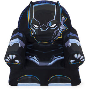 Marshmallow Furniture Children's Comfy Foam Cushion Chair Lounger, Black Panther