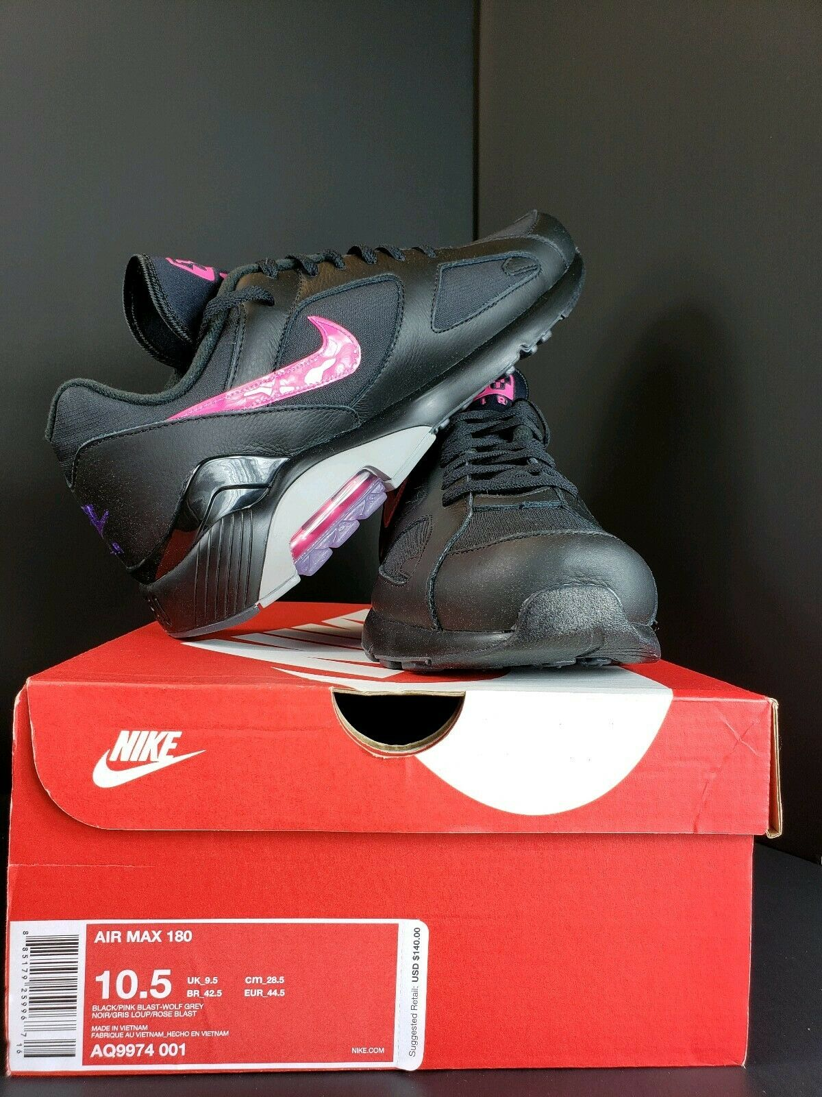 on sale bb403 08a3a Men s Nike Air Max 180 180 180 Item Number AQ9974-001 Size 10.5 Black Pink