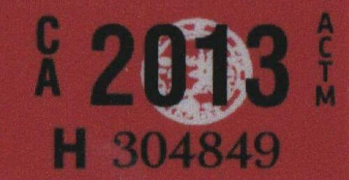 2013 Year Sticker for California Retro Vintage License Plate Registration YOM