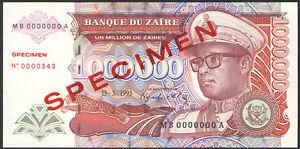 1,000,000 P-45s Zaires 1993 45 Zaire UNC 1000000 SPECIMEN