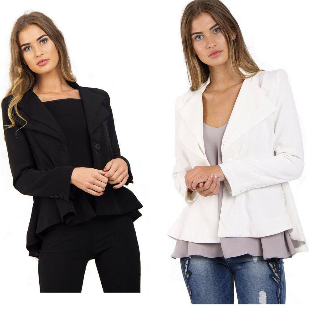 New Women's Black White Blazer Long Sleeve Ruffle Peplum Jackets Coat M-XL UK