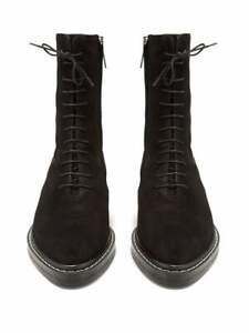 The Row Fara black suede combat boot 36