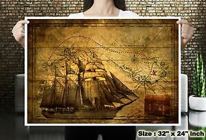 Pirate ship treasure world map silk canvas fabric poster wall decor image is loading pirate ship treasure world map silk canvas fabric gumiabroncs Images