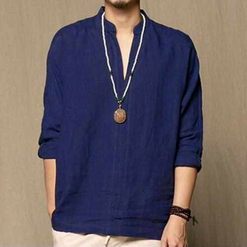 Men/'s Baggy Linen Long-Sleeve Summer Cotton Retro V-Neck T-Shirts Top Blouses