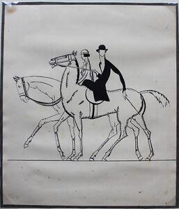 Les-Cavalieres-Encre-originale-ART-DECO-ca-1930-provenant-des-Ateliers-R-PICHON