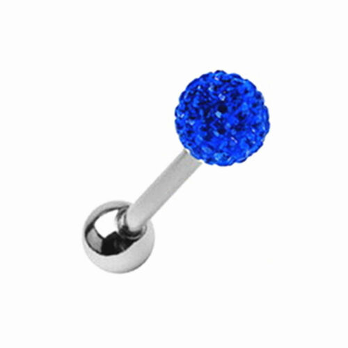 Surgical Steel Czech Crystal Ball Barbell Bar Tongue Ring Studs Piercing Pin UK