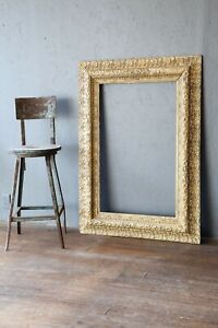 Antique-Carved-wood-Picture-Frame-Gold-Arts-Crafts-Oil-Painting-48-034-X-34-034-Large
