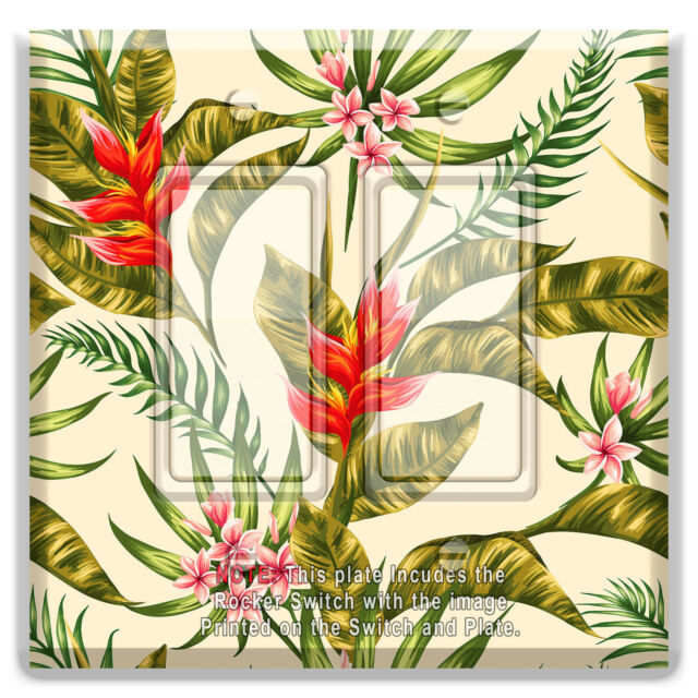 Light Switch Plate Cover Flowers Plumeria and Hibiscus  w/ Rocker Switch  Outlet