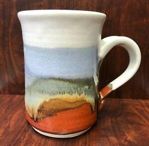 Large-Signed-Ceramic-Pottery-Mug-Cup-Drip-Glaze-Blue-Brown-Orange-Hamilton-Jones