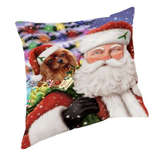 Jolly Old Saint Nick with Cavalier King Charles Spaniel Throw Pillow 14x14