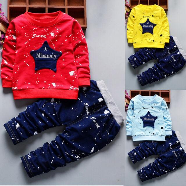 UK Toddler Kids Baby Boys Dinosaur Cotton Top T-shirt Pants Leggings Set Clothes