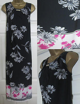 NEW Ex Evans Plus Size 14-28 Border Hem Floral Midi Dress Black White Pink Print