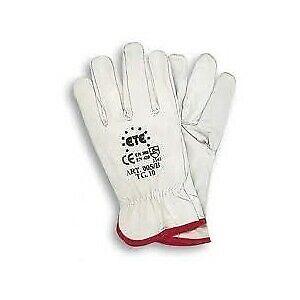 guanti da lavoro in pelle fiore di bovino tg 9 colore bianco
