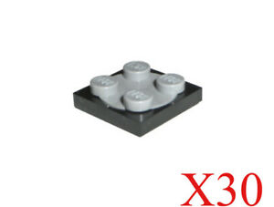 LEGO X10 New Black Turntable 2x2 Plates Complete With Light Bluish Gray Tops Lot