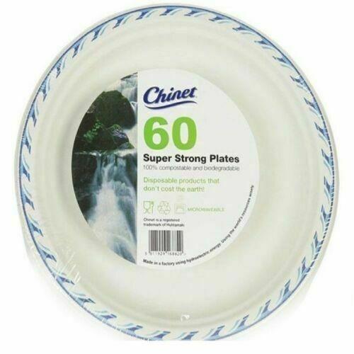 60 chinet 24 cm Super Strong Jetables Assiettes en Papier Mariage//Fête des fonctions