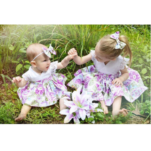 Kid Baby Girl Sister Matching Floral Clothes Jumpsuit Romper Dress Outfit Set