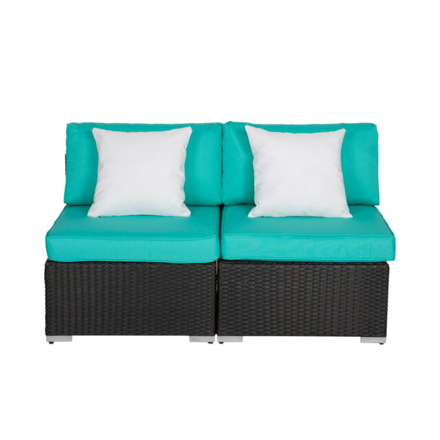 Set Of 2 Outdoor Loveseat Patio Furniture Set Wicker Couch Armless Sofa Chair