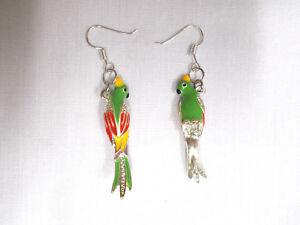 Rope Charm Bead Silvertone 3-D Enamel Parrot