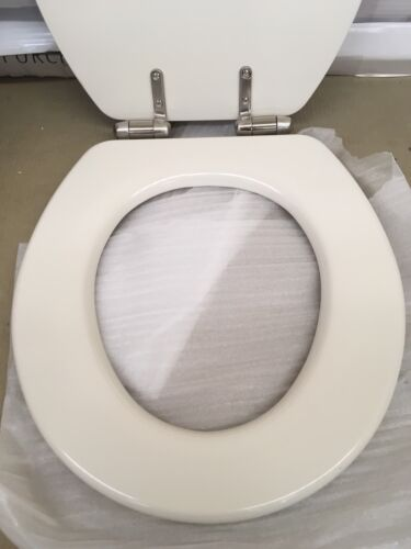 Porcher 70128-00.071 Biscuit Round Front Toilet Seat w//Polished NICKEL Hinges