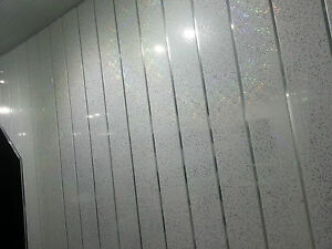 WHITE SPARKLE CHROME PVC Panels Bathroom Cladding Wall Panels - White sparkle bathroom cladding
