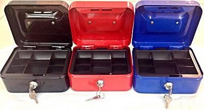 1 Steel Cash Box Lockable Deposit Petty Coins Money Box Safe 2 keys