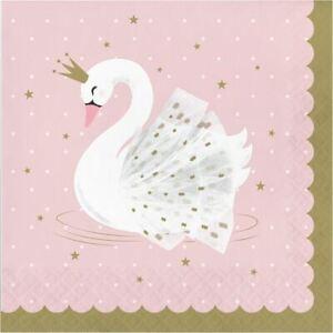 Swan Princess Party servetten roze goud partyware x 16