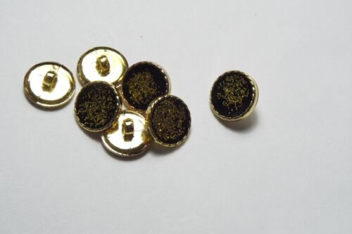 10pc 15mm Gold Glitter and Black Cardigan Trouser Shirt Kids Baby Button 0468