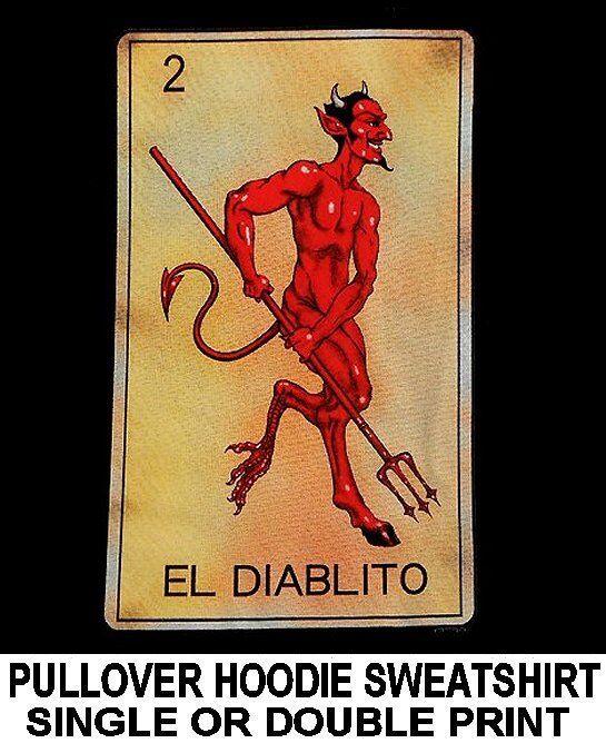 EL DIABLITO TAROT CARD DEATH TRIDENT SATAN EVIL DEVIL SKULL HOODIE SWEATSHIRT