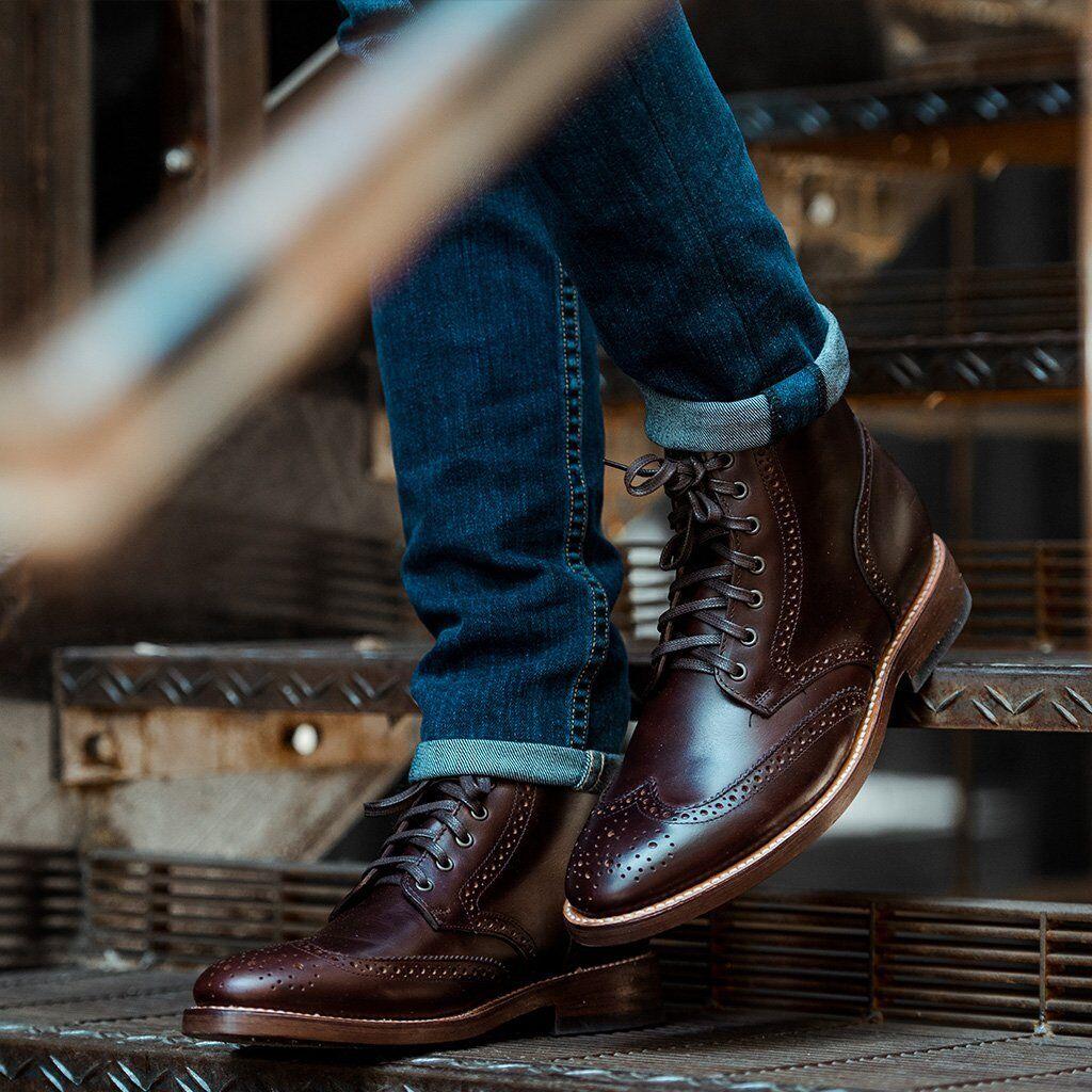 Handmade Uomo Wingtip brogue ankle leather boots,Uomo lace up ankle leather boots