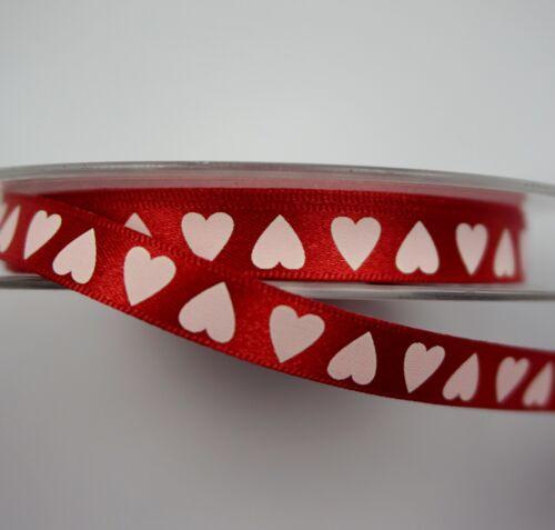 2 mètres * Ruban satin rouge 10mm Avec Blanc Cœurs