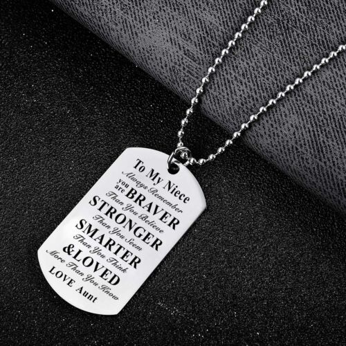 Stainless Steel To My Son Daughter Gift Mother Father Dog Tag Necklace Pendant