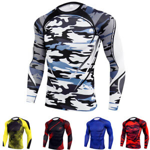Men-039-s-Sports-Compression-T-Shirts-Long-Sleeve-Workout-Skin-Baselayer-Tight-fit