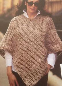 d80102100cc26 Image is loading Ladies-Crochet-Poncho-Pattern