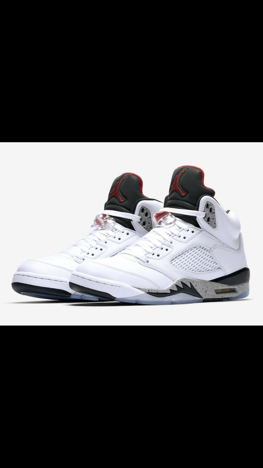 "d5bd99913d4 Nike Air Jordan 5 Retro ""White Cement"" White Black Size 13 Red Grey  nxpdai5999-Athletic Shoes"
