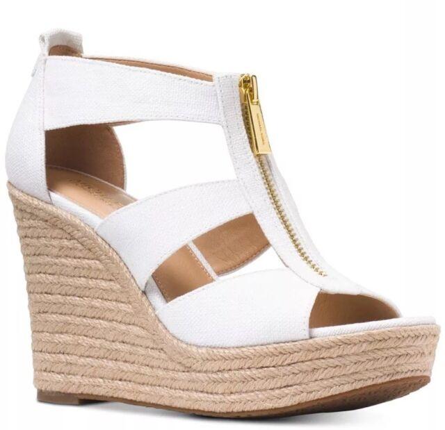 12ee90b7fea New Michael Kors Damita Espadrille Wedge Sandal platform zip optic white  canvas