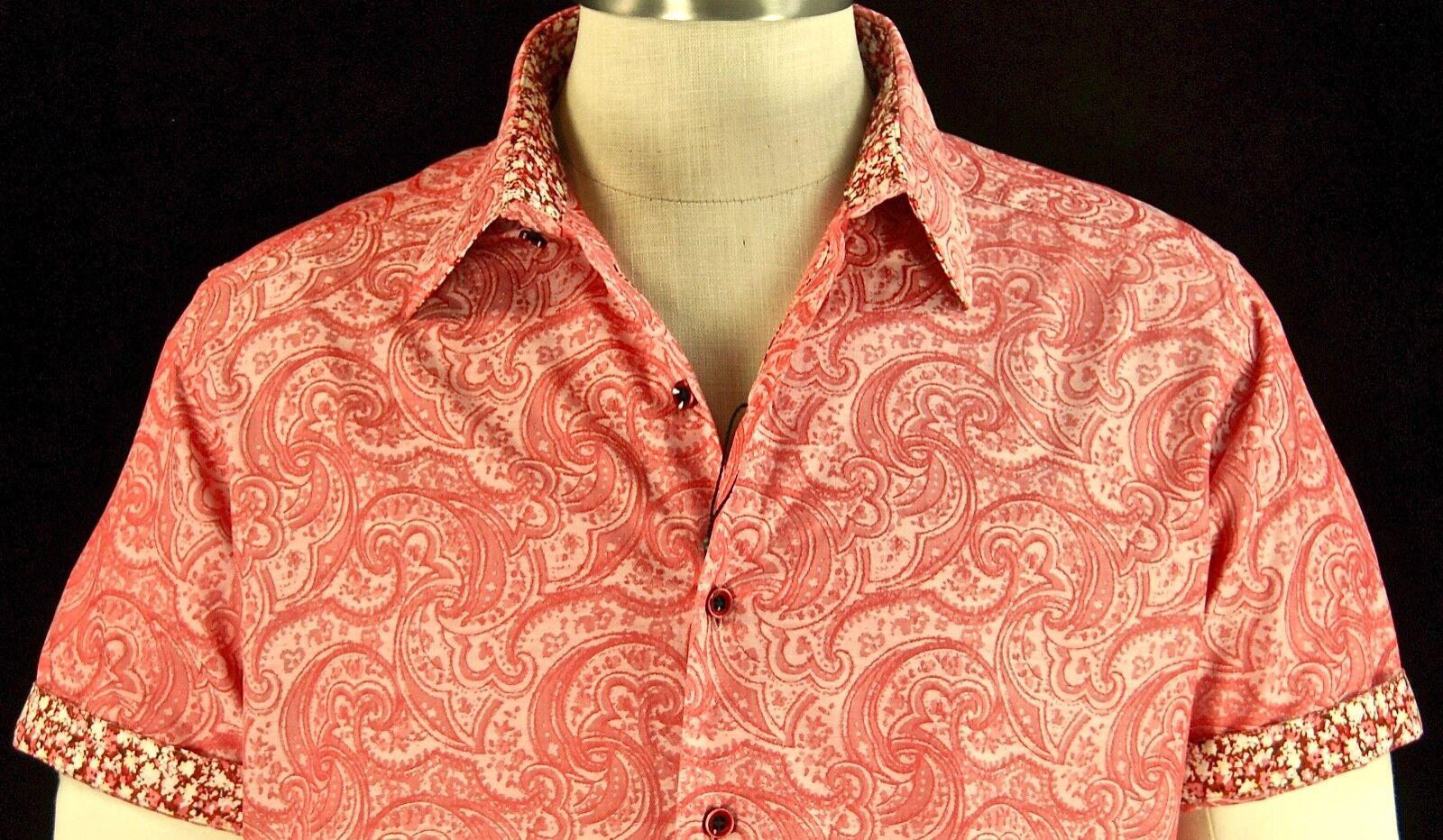 Robert Graham pink NWT Paisley Jacquard Short Sleeve Floral Cuffs Large